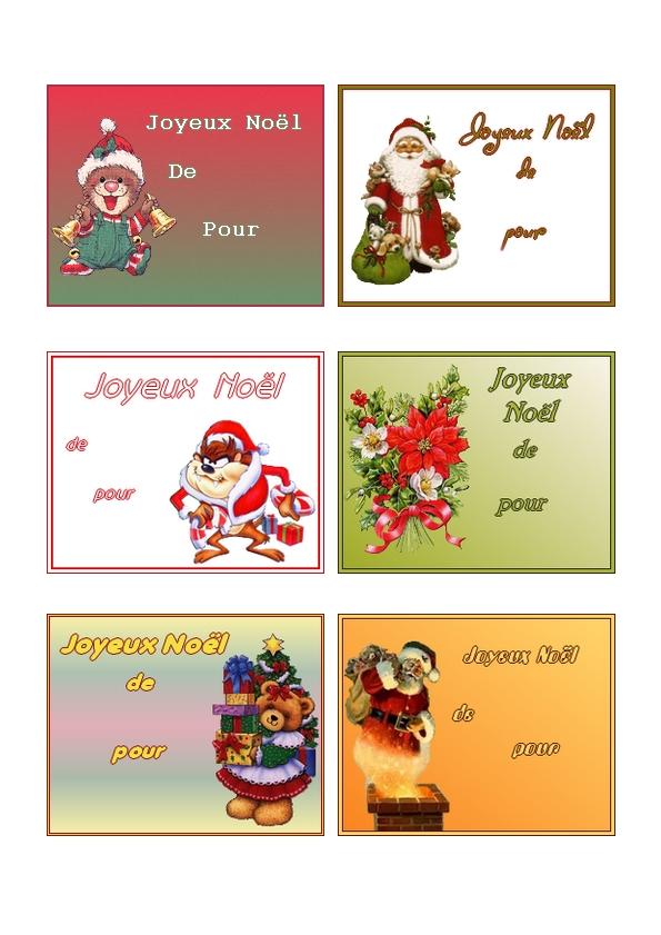 Etiquettes pour faire des cadeaux de noel imprimer sur du for Cadeau de table pour noel
