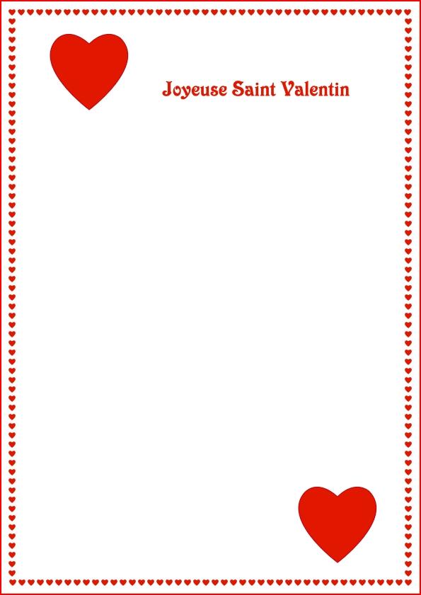 Papier a lettre papeterie imprimer print ecrire - Carte st valentin gratuite a imprimer ...