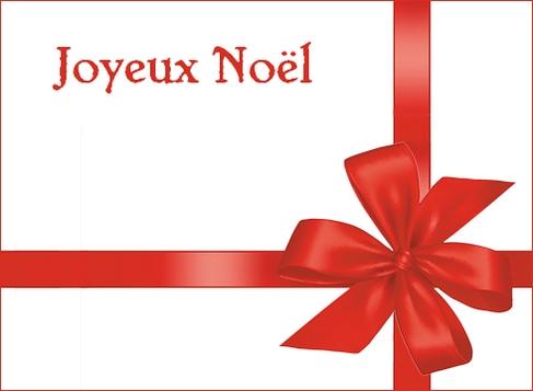 carte noel imprimer noeud rouge