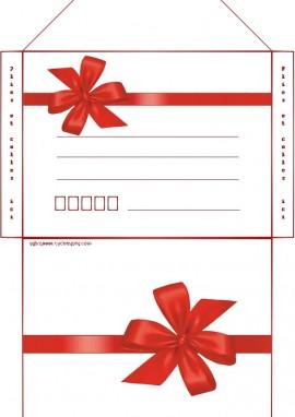 enveloppe noel noeud rouge imprimer